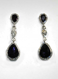 Amethyst/Clear Silver Three Linked Stone Post Earring
