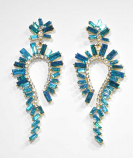 "Blue Zircon/Clear Gold Marquise Stone 3"" Post Earring"