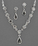 Clear/Silver Flower and Teardop Necklace Set