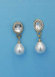 Pearl/Clear Gold Top Oval Dancing Stone Earring