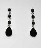 Jet/Silver Linked Stones Round/Pearshape Post Earring