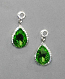 Olivine/Clear Silver Top Round/Bottom Teardrop Post Earring