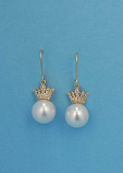 Pearl/Cubic Zirconia Gold Fish/Crown Earring