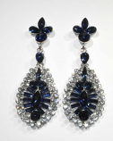 Montana Navy/Clear Hematite Pineapple Shape Post Earring