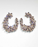AB Light Amethyst/Clear Silver Multiple Flowers Post Earring