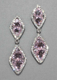 Rose/Clear Silver Two Linked Diamond Shaped Earring