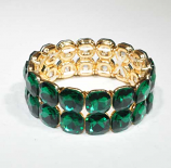Emerald/Gold Two Rows Square Stone Stretch Bracelet