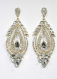 Clear/Gold Teardrop Shaped Post Earring