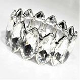 Clear/Silver One Row Marquise Stone Stretch Bracelet