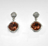 Light Peach/Clear Silver Two Linked Square Shape Post Earring