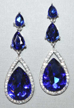 "Sapphire/Silver Three Linked Teardrop Stone 2.5""Post Earring"