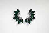 Emerald/Clear Silver Wing Shape Post Earring
