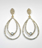 Clear/Gold Top Leaf Bottom Teardrop Shape Post Earring