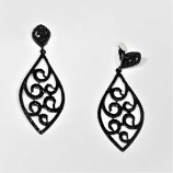 Jet/Black Clip Round Stone Marquise Shape Earring