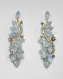 White Opal/Clear Gold Branch Shape Post Earring