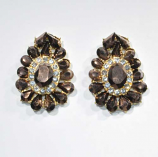 Somked Topaz/Clear Gold Framed Shape Post Earring