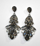 "Black Diamond/Clear Silver Multiple Stone Shape 3"" Post Earring"