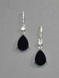 Montana Navy/Clear Silver Dangle Teardrop Post Earring