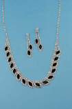 Jet/Clear Silver Marquise/Small Round Stone Set