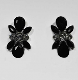 Jet/Clear Silver Flower Shape Post Earring