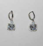 Cubic Zirconia/Silver Dangle Square Stone Clasp Earring