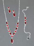 Siam Light/Clear Silver Necklace Set 3 Pieces