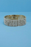 Clear/Gold Five Rows Round Stone Stretch Bracelet