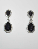 "Amethyst/Clear Silver Two Linked Pearshape 1.5"" Post Earring"