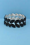 Jet/Silver Two Rows Marquise Shape Stretch Bracelet