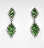 Olivine/Clear Silver Two Linked Diamond Shaped Post Earring