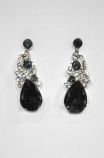 "Black Diamond/Clear Silver Top Branch Shape 2"" Post Earring"