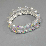 Aurora Borealis/Silver Stretch Two Rows Marquise Shape Bracelet