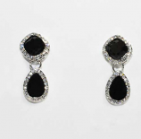 Jet/Clear Silver Top Square Bottom Pearshape Earring