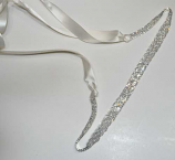 Clear/Silver Twisted Small Round Stone Ribbon Belt