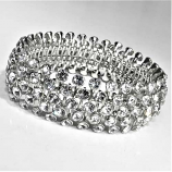 Clear/Silver Multiple Round Stone Stretch Bracelet