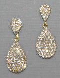 Clear/Gold Three Linked Oval Post Earring