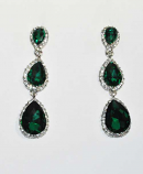 """Emerald/Clear Silver Three Linked Pearshape Post 2.5"""" Earring"""