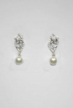 Cubic Zirconia/Pearl Top Leaves Bottom Round Stone Earring