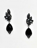 Jet/Hematite Top Flower Bottom Pearshape Post Earring