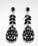 "Jet/Clear Silver Lead Shape 3"" Post Earring"