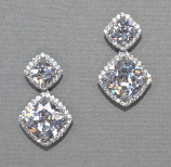 Cubic Zirconia/Silver Double Pear/Round Stone Post Earring