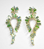 """Emerald/Clear Gold Marquise Stone Shape 3"""" Post Earring"""