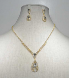 Clear/Gold Teardrop Shape Small Round Stone Set