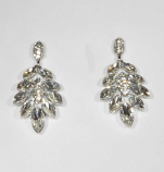 Clear/Silver Leaves Shape Post Earring