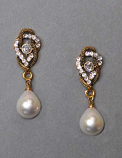 "Pearl/Clear Antique Gold Top Branch Shape Dancing Post 1.5""  Earring"