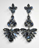 "Sapphire AB/Clear Silver Multiple Stone 3"" Post Earring"