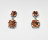 """Light Peach/Clear Silver Two Linked Square Stone 1.5"""" Post Earring"""