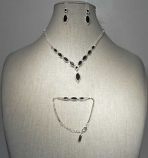 Amethyst/Clear Silver Three Pieces Marquise Stone Set