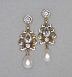 Pearl/Clear Antique Gold Top Mirror Bottom Dancing Pearl Pearshape Earring