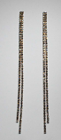 """Clear/Rose Gold Two Row 12"""" Long Earring"""